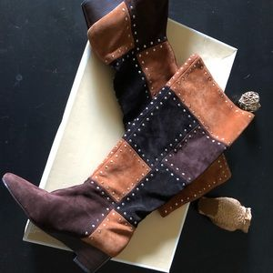 Michael Kors Suede Patchwork Luggage Stud Boots
